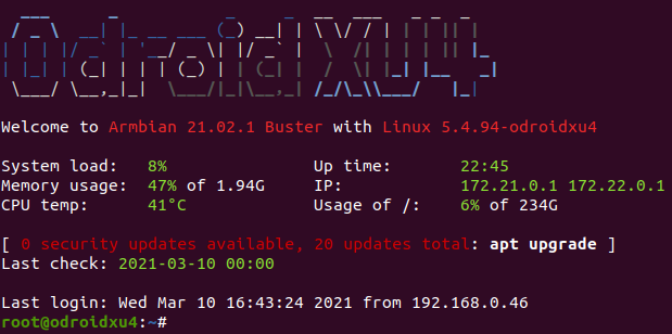 screenshot of linux terminal displaying armbian message of the day