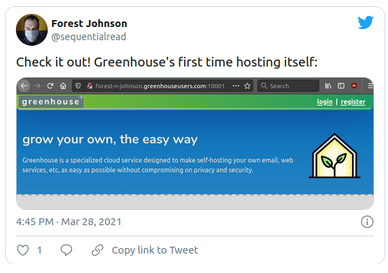 tweet where forest proclaims that greenhouse is hosting itself for the first time
