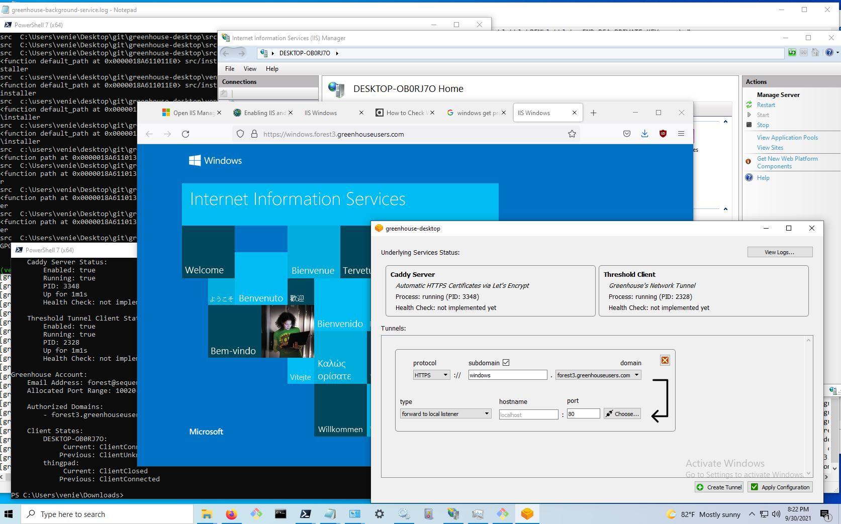 screenshot of a windows desktop displaying IIS (internet information services, the default web server on windows) being tunneled through greenhouse